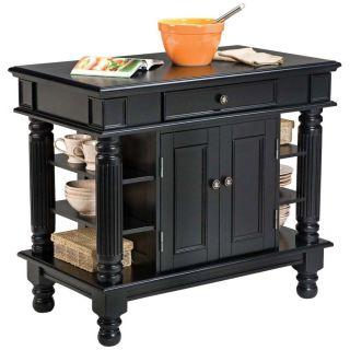 NEW SALE Home Styles Americana Black Finish Wood Kitchen Island