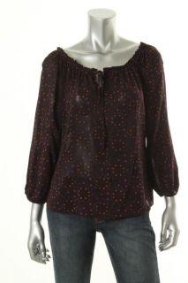 Alice Olivia New Dakota Purple Printed Silk Keyhole V Neck Blouse Top