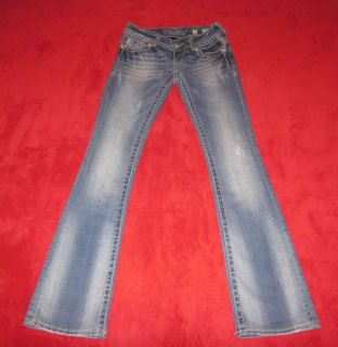 MISS ME SIZE 24 RHINESTONES LACE STRETCH LOW RISE FLAP POCKETS JEANS