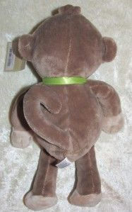 Carters Brown Velour Tan Monkey Green Bow Plush Stuffed Baby Toy Lovey