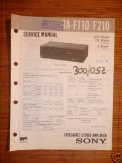 Service Manual Sony TA F110 F210 Amplifier Original
