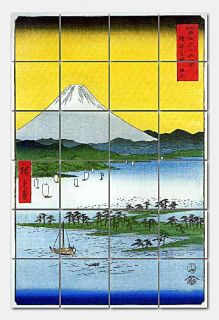 tiled mural features the artwork Mt. Fuji by Ando Hiroshige
