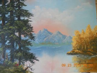 American Folk Art Mountain Scenery Landscape Oil On Canvas Painting
