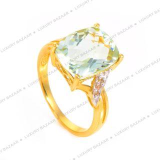 10K Yellow Gold Green Amethyst Diamond Ring