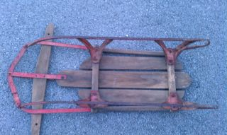 40 Vintage Metal Rail Sled Snow Toboggan Antique Wood Rails Sledding