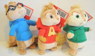 New Jakks Alvin and The Chipmunks Plush Toy Set Alvin Theodore Simon 6