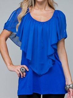 Size 2X TANK TOP SHIRT Womens Plus SHORT SLEEVE Blue ROMAN FASHION NWT