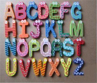 Large 26pcs Wooden Alphabet Fridge Magnet Educational Toys Childrens
