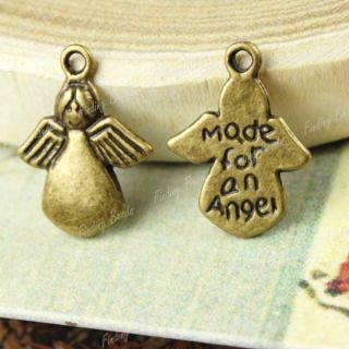 60 Vintage Antique Bronze Angel Charm Pendant TS0140 4