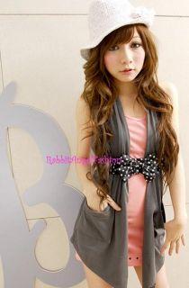 Japan Open Pocket Halter Drapery Tunic Vest Dark Gray