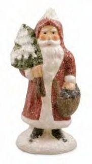 Rosy Red Cheeks Santa holding Gifts Paper Pulp Figurine by Teena