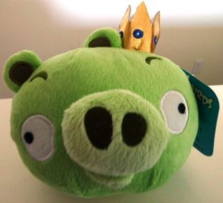 Angry Birds Plush Green King Pig with Crown Licensed 5 Brand New