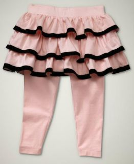 Baby Gap Girls Park Avenue Pink Black Ruffle Skirt Leggings Pants 4 4T