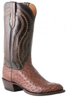 LUCCHESE M1607 MENS SIENNA BROWN FULL QUILL OSTRICH BOOTS D (MEDIUM