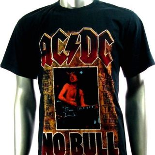Sz L AC DC Angus Young T Shirt Biker Heavy Metal Punk Rock Men S25