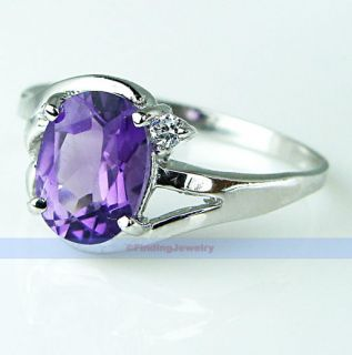 Fancy 1 2ct Oval Purple Amethyst Silver Ring Size 7 1 4 Low Price High