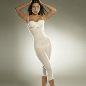 Compression Garment Fitness Capri S Full Body Shaper in White by Diane