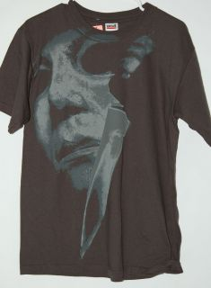 Halloween Michael Myers Large Face with Knife gray tee t shirt