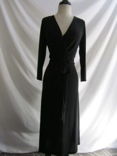Ann Taylor LOFT Black No Wrinkle Knit Faux Wrap Midi Tie Waist Dress