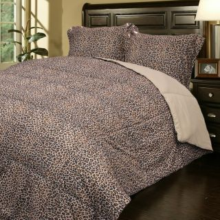 Leopard Print Microfiber Down Alternative Comforter and Sham Set