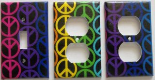 Colorful Peace Sign Light Switch Outlet Plate Wall Decor Create Your