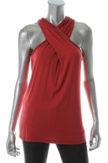 Anne Klein New Gramercy Red Beaded V Neck Cross Tank Top Shirt L BHFO