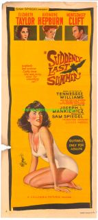 Suddenly Last Summer Movie Poster Australian Daybill 13x30 Elizabeth