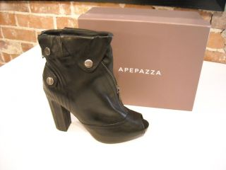 Apepazza Las Vegas BLACK Leather Peep toe Ankle Boot 8.5 NEW