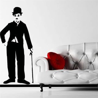 CHARLIE CHAPLIN FIGURE QUOTE WALL ART STICKER, WALL MURAL, WALL DECAL