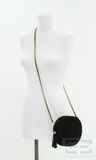 Andrea Carrano Black Quilted Suede Round Chain Strap Crossbody Bag