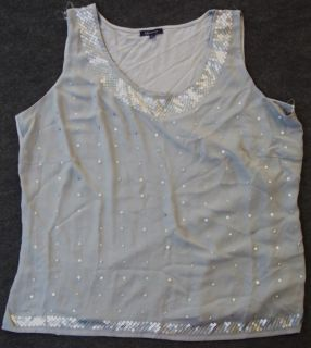 Anne Klein Womens Plus Size Embellished Silver Scoop Neck Tank Size