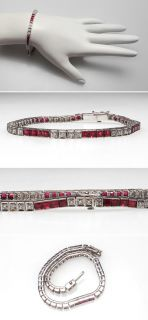 Vintage Natural Ruby & Diamond Line Tennis Bracelet Solid 18K Gold sku