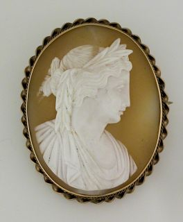 Antique Shell Cameo Brooch Pin Set in 14k Gold