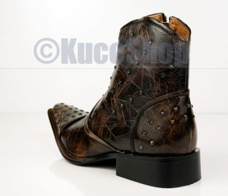 Mens High Ankle Boots Shoes Studded Punk Rock Brown Size 10