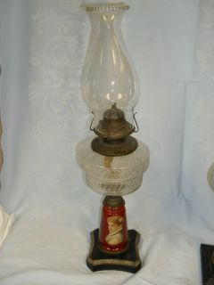 ANTIQUE VICTORIAN KEROSENE OIL LAMP REVERSE PAINTED BASE ORNATE GLASS