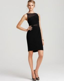 Anne Klein New Black Embellished Seamed Jersey Mesh Cocktail Dress 10
