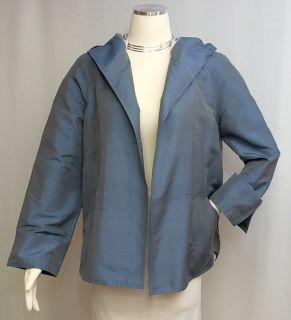 ANNE KLEIN New York~ Heather Blue Iridescent Silk Open Style Hoodie