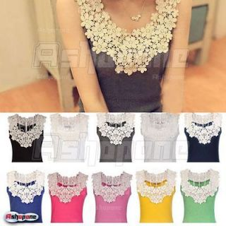 New Sexy Womens Lace Flower Crochet Ribbed Tank Top Sleeveless T shirt