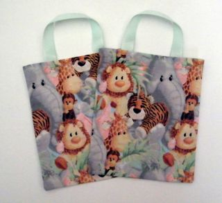 New 6 Jungle Safari Animals Birthday Party Favor Bags