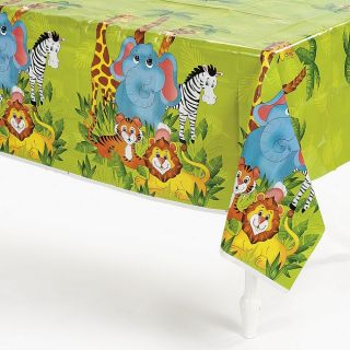 JUNGLE ZOO ANIMAL PARTY tablecloth SAFARI TABLE COVER plastic