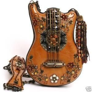 MARY FRANCES Guitar Hall of Fame Brown Bag Purse Tan Handbag Beaded