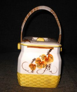 Vintage Antique Cookie Jar Porcelain Basket Hand Painted