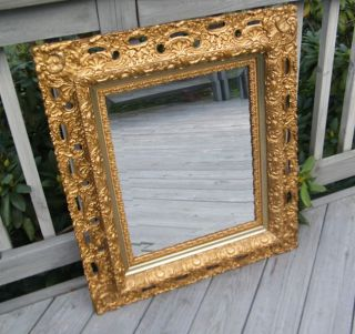 Antique Vintage Carved Gold Old Thick Wood Frame Wall Beveled Mirror