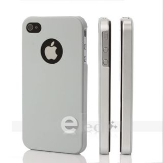 Hard Ultra Thin Hard Case Cover for Apple iPhone 4G Gray Sides Silver