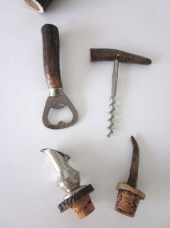 ANTIQUE ANTLERS GERMAN BARWARE SET   5 PCS BOTTLE OPENER, CORKSCREW