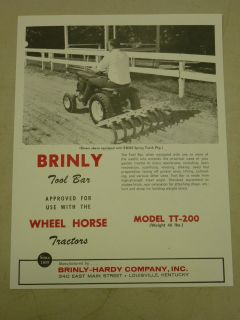 Vintage Brinly Tool Bar TT 200 Spec Sheet for Wheel Horse Tractors