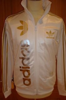 NEW RETRO ADIDAS OLYMPIC GOLD SILVER WHITE TRACK TOP CHILE 62 SMALL