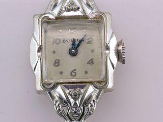 Vintage Antique Bulova Genuine Diamond White Gold Ladies Wrist Watch