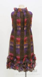 Anna Sui Multicolor Plaid Print Silk Ruched Hem Dress Size S