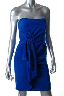 Nicole Miller $300 Blue Strapless Padded Bust Silk Cocktail Dress New